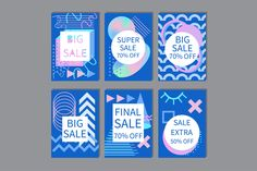 Vector Sale Cards Set Memphis Style, Memphis Design, 1980s Pop art, 80s 90s, Holographic Abstract Geometrical Shapes, Png Ai by annakristal on Etsy