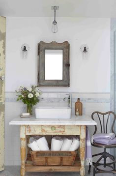 Vintage Shabby table turned vanity, chippy paint, marble...