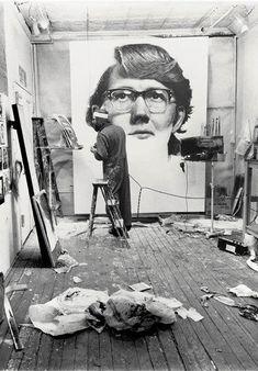 The makeshift studio of Chuck Close.