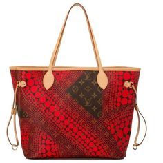 Preowned Louis Vuitton Red Monogram Kusama Waves Neverfull Mm ($3,200) ❤ liked on Polyvore featuring bags, red, coated canvas tote, shoulder strap bag, handbags totes, drawstring tote bags and tote handbags