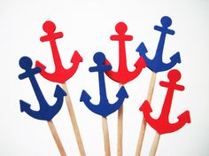 Set of 24Pcs - Double Sided Red & Royal Blue Anchor Party Picks - Baby Showers, Nautical, Beach Weddings, Food Picks