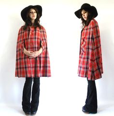 Fantastic Cape!  Vintage 60s 70s Plaid Cape by theVintageSideShow on Etsy, $52.00