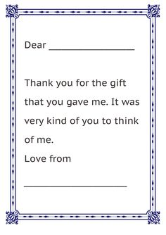Formal Letter Sample Thank You Note For Kids Free Printable Letter