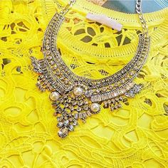 """- silver tone statement necklace, - clear """"crystals"""" and faux pearls, - feature by many bloggers, - popular design."""