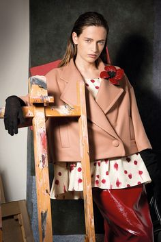 """""""Zooming out on our NEW red skirt. An artfully put together look via campaign. Parka Coat, Red Skirts, Fall Winter 2015, Erika, Vancouver, Kimono, Couture, Collection, Style"""