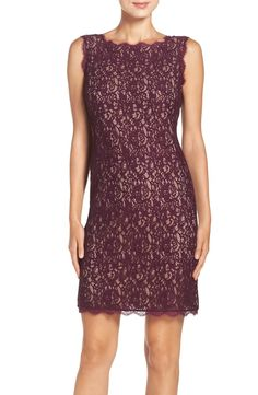 Adrianna Papell Boatneck Lace Sheath Dress (Regular