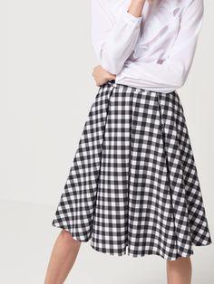 Překládaná rozšířená sukně, SUKNĚ, Černý, MOHITO