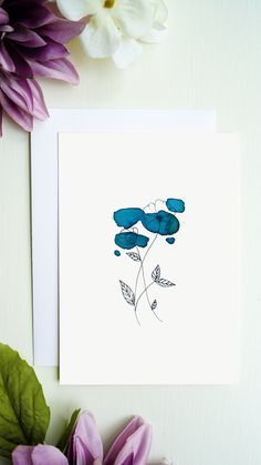 High quality printed flowers greeting card with blank inside for your greetings, congratulations and more. You will receive a white envelope for the greeting card. Bouqets, White Envelopes, Line Drawing, Flower Prints, Watercolor Flowers, Congratulations, Greeting Cards, Etsy, Drawings