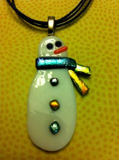 Fused glass snowman necklace