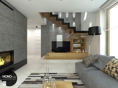 beton & drewno - Salon, styl skandynawski - zdjęcie od MONOstudio