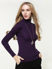 Purple High Neck Casual Pullovers Woman Sweater