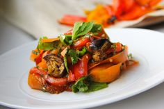 Eggplant and Marinated Pepper Salad with Shaved Carrots | thebruisedfruit.com