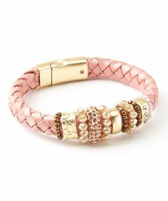 Look what I found on #zulily! Gold & Pink Braided Leather Bracelet by Treska #zulilyfinds