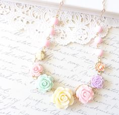 Vintage Beaded Flower Cluster Necklace  Garden by NestingPretty, $34.00