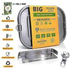 Sie suchen nach einer ♻️ umweltfreundlichen, zuverlässigen & zugleich auch 100% Auslaufsicheren Metall Brotdose für Sie, Ihre Kinder oder einen anderen geliebten Menschen?   Dann aufgepasst, hier bekommen Sie eine Geruchs & komplett geschmacksneutrale  Vesperdose aus Lebensmittel echten Edelstahl mit Glanz Versiegelung + Klipp Verschluss, Fächer & Edelstahl Besteck. Mit einem Volumen von 1400 ML ist diese Stahlbox perfekt für Ausflüge oder den täglichen Gebrauch für Schule, Arbeit, Freizeit. Stainless Steel Lunch Box, Bento, Let It Be, Flatware, Sparkle, People, Bento Box