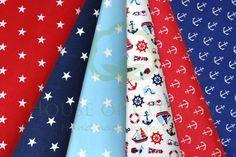 Sky & navy blue marine cotton fabric set with anchors, lighthouses, boats & stars / Zestaw marynarski