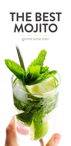 Truly the BEST mojito recipe! It's quick and easy to make with lots of fresh mint, lime juice and rum. It's naturally sweetened with honey. And easy to make in a single cocktail serving, or as a pitcher for a crowd. The perfect summer drink!   Gimme Some Oven #mojito #cocktail #drink #summer #recipe