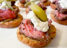 Mini roast beef sandwiches with horseradish cream - either on whole wheat rolls or open face on crustini