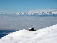 Зимой, Горы, Туман, Легкий Снегопад, Снег, Лыжня