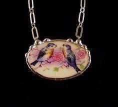 Sweet little bluebirds antique broken plate broken china jewelry oval shaped necklace