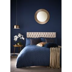Canora Grey The duvet cover set jacquard comprising of intricate tessellated shapes in a beautiful midnight colourway. Midnight Blue Bedroom, Blue And Gold Bedroom, Dark Blue Bedrooms, Blue Master Bedroom, Navy Bedrooms, Blue Bedroom Decor, Blue Rooms, Home Bedroom, Navy Copper Bedroom