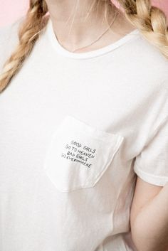Brandy ♥ Melville | Ieva Good Girls Bad Girls Embroidery Top - Graphics