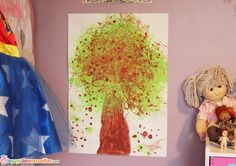 Bricolage d'automne : peindre un marronnier avec une fleur de douche. Arbre d'automne - activité manuelle automne - peinture enfant
