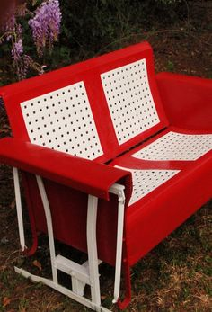 red outdoor vintage metal porch glider couch style
