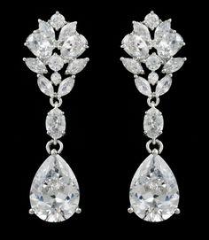 Stunning Multi Cut CZ Pear Drop Wedding Earrings in Pierced or Clip On.