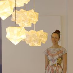 Kyla McCallum's Sonobe Collection, a series of origami lighting designs that are folded and pieced together entirely by hand.