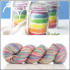 Lovely RAINBOW CAKE sparkling silk sport weight yarn by Expression Fiber Arts... yum! Great for a knitted or crocheted shawl or scarf.