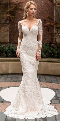 Naama and Anat Wedding Dress Collection 2019 - Dancing Up the Aisle - Merengue a elegant fitted long sleeves deep sweetheart neckline bridal gown with plunging back, full embellishment and cowl back sweep train Princess Wedding Dresses, Modest Wedding Dresses, Elegant Wedding Dress, Bridal Dresses, Dress Wedding, Lace Wedding, Wedding Blog, Wedding Tips, Wedding Planning