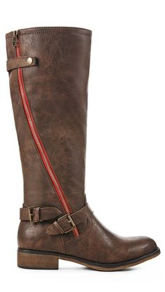 Brown Boots with Red Zippers