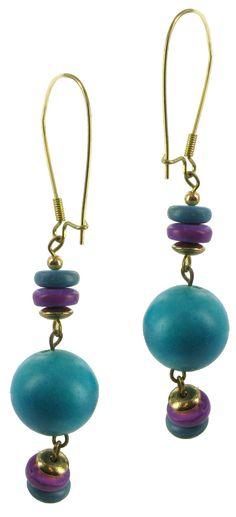 1980s Purple Blue Dangle Bead Pierced Earrings by KensieKitsch