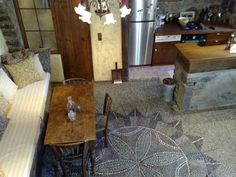 """Old house in Crete, Greece with beautiful pebble floor gives me the idea to pebble """"paint"""" my plain brick patio."""