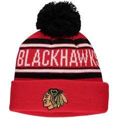 2bca41b79 Youth Chicago Blackhawks Red Wordmark Cuffed Knit Hat with Pom