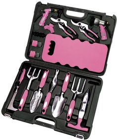 Apollo Precision Tools DT3795P 18-Piece Garden Tool Set, Pink
