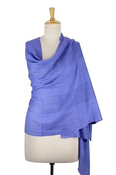 Wool shawl, 'Periwinkle Allure' - Hand Loomed 100% Wool Periwinkle Blue Wrap for Women (image 2d)