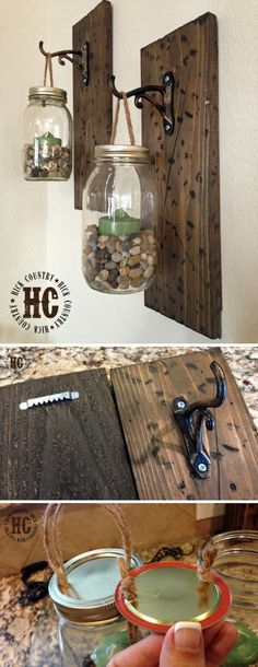 Rustic DIY Mason Jar Wall Lanterns...make similar but put faux flowers in instead for 1st floor bathroom