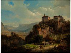 SCHLOSS TIROL Öl auf Leinwand. Doubliert. 29 x 39 cm. Unten rechts signiert. In originalem Biedermeierrahmen. Schloss Tirol zählte im vorigen Jahrhundert bei...
