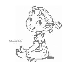 Cross stitch pattern Anna childhood from Frozen sketched portrait Instant download PDF.
