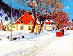Winter Landscape, Baie-saint-paul Artwork By Clarence Gagnon Oil Painting & Art Prints On Canvas For Sale Canadian Painters, Canadian Artists, Artist Painting, Artist Art, Clarence Gagnon, Art Gallery Of Ontario, Of Montreal, Winter Scenes, Snow Scenes