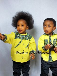 House of Aranu, African children's clothes Baby African Clothes, African Dresses For Kids, African Babies, African Children, African Inspired Fashion, African Print Fashion, Africa Fashion, Boy Fashion, African Attire