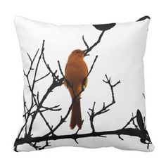 """Orange free to fly pillow Bird on a black tree on the front and Japanese """"free to fly"""" on the back. Don't miss this pillow! Check out the other colors."""