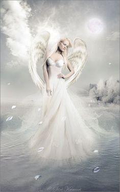 White Angel ༺ß༻ Angel Images, Angel Pictures, Angels Among Us, Angels And Demons, Fantasy Kunst, Fantasy Art, Statue Ange, Angel Artwork, I Believe In Angels