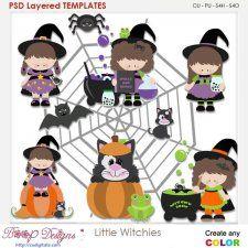 Little Halloween Witches Element Templates by Kristi W #CUdigitals cudigitals.com cu commercial digital scrap #digiscrap scrapbook graphics