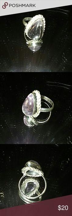 925 sterling silver tear drop stone ring Genuine 925 sterling silver tear drop stone ring size 7 handmade Jewelry Rings