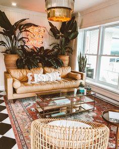 House interior design bedroom boho chic Ideas for 2019 Living Room Plants, Home Living Room, Living Room Decor, Bohemian Interior Design, Home Interior Design, Simple Interior, Interior Colors, Luxury Interior, Interior Ideas