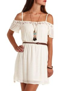Lace-Trimmed Cold Shoulder Belted Dress: Charlotte Russe