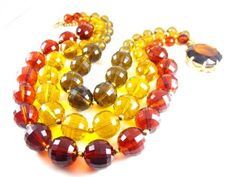 Amber Lucite Necklace Huge Faceted Glass Topaz Clasp Sterling